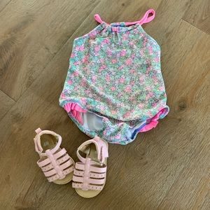 Bathing suit and Sandals